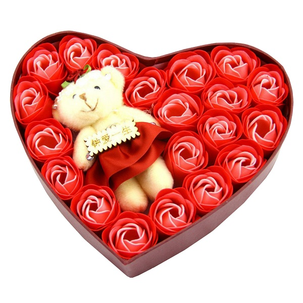 Valentines Day Special Gift Ideas Teddy Bear Doll Rose Soap Flower