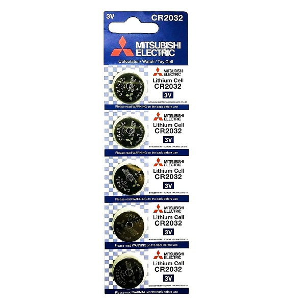 Mitsubishi CR2032 Lithium Cell Button Battery (5 Pieces)