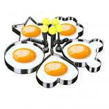 Stainless Steel Fried Egg Mold Pancake Mold Kitchen Tool Pancake Rings with Oil Brush 5 Pcs Set