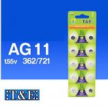 T&E AG11 SR721SW LR721 LR58 162 GP62A 362 Button Alkaline Battery (10 Pieces)