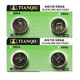 TIANQIU AG10 SR1130SW LR1130 189 GP89A 389 Button Alkaline Battery (4 Pieces)