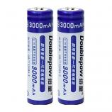 Doublepow 18650 3000MAh Li-on Rechargeable Pointed Head Battery (2 Pieces)
