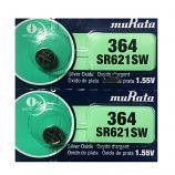 muRata 364 SR621SW AG1 LR621 Button Silver Oxide Battery (2 Pieces)