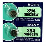 Sony 394 SR936SW AG9 SR45 SR936 1.55V Button Silver Oxide Battery (2 Pieces)