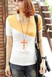 Fashion Short Sleeve Slim Fit T-Shirt Size XL (Orange)