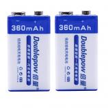 Doublepow 9V 6F22 360mAh Ni-MH Rechargeable Battery (2 Pieces)