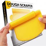 2 in 1 Stainless Steel Dough Scraper Cutter Flour Pastry with Scale Cutter (Yellow)
