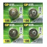 GP LR43 AG12 SR43SW 186 GP86A 386 Alkaline Button Battery (4 Pieces)