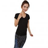Korean Summer Round Neck Short Sleeve Slim Size L (Black)