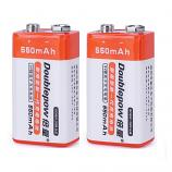 Doublepow 9V 6F22 550mAh LSD Lithium Rechargeable Battery (2 Pieces)