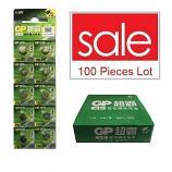 GP LR41 AG3 SR41SW 192 GP92A 392 Alkaline Button Battery (100 Pieces)
