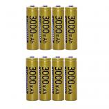 Doublepow KTV Microphone High Capacity 3000mAh Ni-MH Rechargeable AA Battery (8 Pieces)