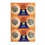 T&E AG12 SR43SW LR43 186 GP86A 386 Button Alkaline Battery (6 Pieces)