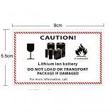 IATA Dangerous Goods Handling Label Lithium Ion Battery CAUTION Label 9 x 5.5cm 50 Pieces