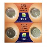 T&E AG12 SR43SW LR43 186 GP86A 386 Button Alkaline Battery (4 Pieces)