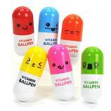 Retractable Smiling Face Pill Shape Ballpoint Pen Cute Cartoon Favor Ball Pen (6 Pcs Pack)