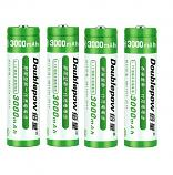 Doublepow 18650 3000MAh LSD Li-on Rechargeable Pointed Head Battery (4 Pieces)