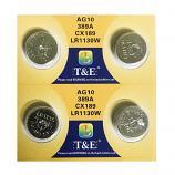 T&E AG10 SR1130SW LR1130 389 Button Alkaline Battery (4 Pieces)