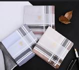 Classic Cotton Men Pocket Square Handkerchief Model A6 (Coffee)