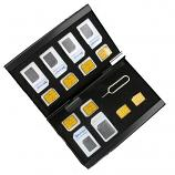 Mobile Gadget Portable Aluminum Double Layer SIM Memory Card Case Holder 6 Standard+6 Micro+2 Nano+SIM Pin (Black)
