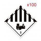 IATA DG Hazard Label Class 9 Lithium Batteries 10x10cm 100 Pieces