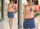 Korean Spring New Stripe Chain Cotton Slim Fit Short Sleeve Dress
