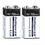 Doublepow 9V 6F22 700mAh LSD Lithium Rechargeable Battery (2 Pieces)