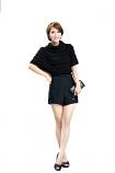Autumn Fashion Double Layer Waist Short Pant Size M (Black)
