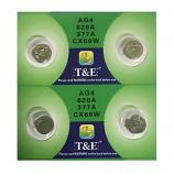T&E AG4 SR626SW LR626 377 Button Alkaline Battery (4 Pieces)