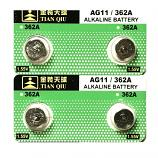TIANQIU AG11 SR721SW LR721 LR58 162 GP62A 362 Button Alkaline Battery (4 Pieces)