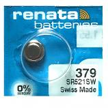 Renata 379 SR521SW SR63 SR521 Button Silver Oxide Battery (1 Piece)
