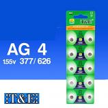 T&E AG4 SR626SW LR626 377 Button Alkaline Battery (10 Pieces)