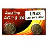 VSAI AG12 SR43SW LR43 386 Button Alkaline Battery (2 Pieces)