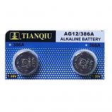 TIANQIU AG12 SR43SW LR43 186 GP86A 386 Button Alkaline Battery (2 Pieces)