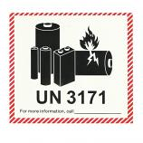 UN3171 IATA DG Hazard Label Class 9 Small Vehicles Powered by Lithium Batteries 12x11cm (100 Pieces)