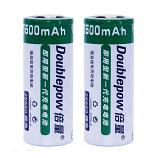 Doublepow 26650 5500mAh Li-on Rechargeable Flat Head Battery (2 Pieces)